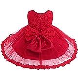 iiniim Baby Mädchen Kleid Festlich Prinzessin Kleid Blumenmädchenkleid Mesh Taufkleid Hochzeit Partykleid Festzug Gr.62-86 Rot Stil 2 62-68/3-6 Monate
