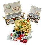 Ackermann NÄHKORB-Set Nähmaschinen-/ Schneiderpuppen/Stoffballen-Motiv, Materialmix, Bunt, 30.5 x 23 x 16 cm, 3-Einheiten