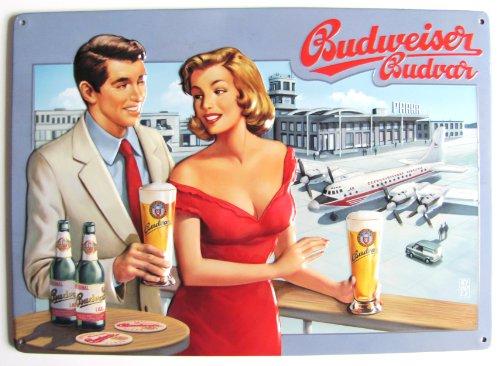 budweiser-targa-in-metallo-20-x-30-cm-coppia-all-aeroporto