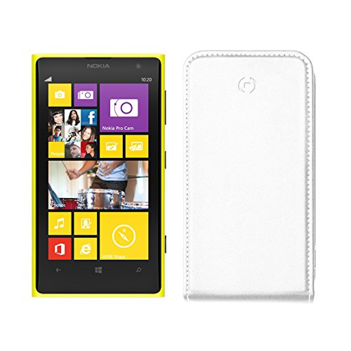 Celly Custodia con Flap Verticale per Nokia Lumia 1020, Bianco