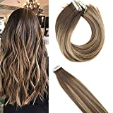 YoungSee 24 Pouces Extension Tape 50g/22pcs Remy Dip Dye Extension Adhesive Cheveux Naturels Chatain Fonce Leger a Caramel Blond Naturel Lisse Tape in Human Hair Extensions