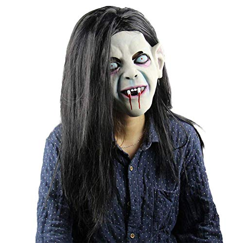 YQ Latex Maske Halloween Schrecken Masken Der Groll Horrible Maske Dark Hair Party Supplies - Der Groll Kostüm