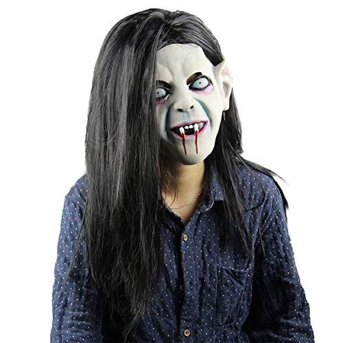 YQ Latex Maske Halloween Schrecken Masken Der Groll Horrible Maske Dark Hair Party Supplies Cosplay