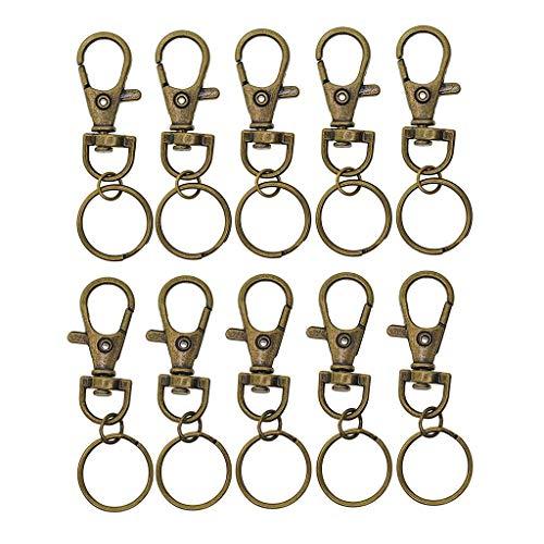 SGerste 10 Stück Antik-Bronze-vergoldete Metall-Legierung Drehverschlüsse Lanyard Karabinerhaken mit Split Schlüsselringen Schlüsselanhänger-Ringe für Schmuck Findings Basteln