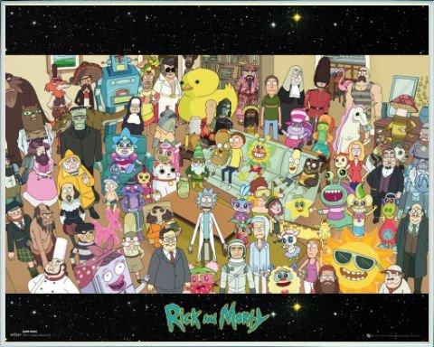 Rick Y Morty Póster Mini con Marco (Plástico) - Elenco, Todos Los Pe
