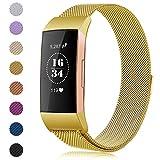 Gogoings Für Fitbit Charge 3 Armband - Ersatzarmband Metall für Damen Herren Milanese Metallarmband mit Einzigartiger Magnetverriegelung für Fitbit Charge3 Fitness Tracker Zubehör (Gold, S)