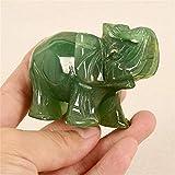Winwinfly Hand geschnitzt natürlichen grünen Jade Stein Verlangen nach Elefant Statue Dekor