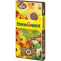 Floragard Bio-Erde ohne Torf 40 L • natürliche Universalerde für  Zimmer-, Balkon-, Kübelpflanzen • zur Anzucht von Bio-Gemüse • Hochbeeterde • torffrei