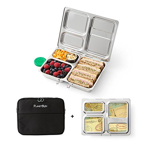PlanetBox Launch Lunchbox Complete Set, Black Sleeve with Air Mail Magnets by PlanetBox