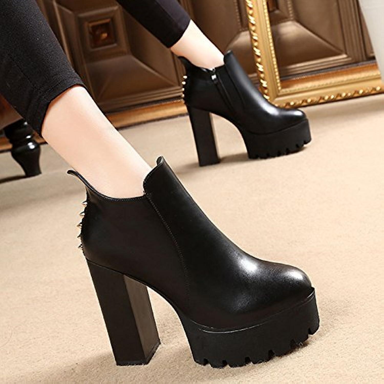 KPHY-Chaussures Imperméables Bottes Aux Épais Bottes Correspond À Korean Femelle Femelle Bottes Épais Bottes Martin RivetB077RXBP1VParent 47a197