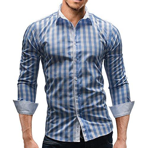 Merish Herren Hemd Herrenhemd Kariert 7 Modelle S-XXL Freizeithemd 144 Hellblau-Weiß L (Gestreiftes Blau Oxford-hemd)