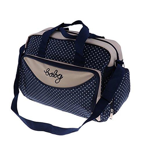 Prettyia Damen Windel Wickeltasche Mama Handtasche Babytasche Umhängetasche Schultertasche Reisetasche für Mutter und Baby - Marine, Groß
