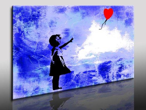 "Fotoleinwand24 - Banksy Graffiti Art ""There Is Always Hope"" / AA0134 / Bild auf Keilrahmen / Grau / 120x80 cm"