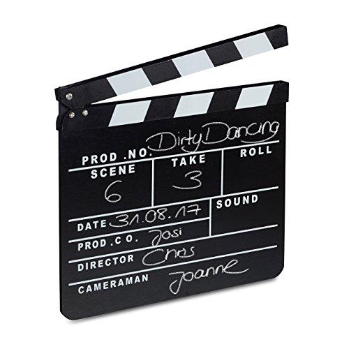 Relaxdays Filmklappe Holz, Regieklappe, Synchronklappe, Clapperboard, beschriftbar, Deko, H x B: 26 x 30 cm, schwarz