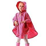 Kinder Regenponcho Regenjacke Süß Punkt Wasserdicht Regenmantel Regencape für Jungen Mädchen (Rot, S/90-100cm)