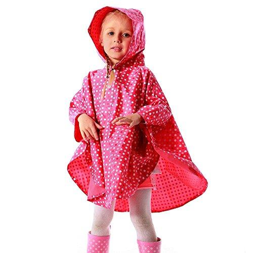 G-Kids Kinder Regenponcho Regenjacke Süß Punkt Wasserdicht Regenmantel Regencape für Jungen Mädchen (Rot, M/100-110cm)