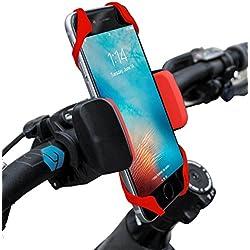 Widras - Supporto da bici e moto per telefono cellulare, adatto per iPhone 6,5, 6S Plus, Samsung Galaxy Note o qualsiasi smartphone e GPS, supporto da manubrio per bici da strada e mountain bike per Pokemon Go, Red