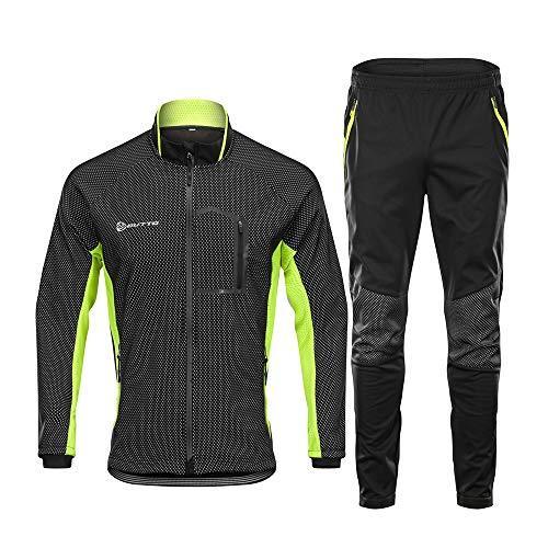 d.Stil Herren Fahrradbekleidung Set Langarm Fleece UV- Schutz Radjacke + Fahrradhose M - 3XL (Schwarz-Grün, XXXL)