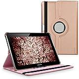 kwmobile Funda para Samsung Galaxy Tab 2 10.1 - Case de 360 grados de cuero sintético para tablet - Smart Cover completo y plegable para tableta en oro rosa