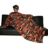 NFL Cleveland Marron s Large Throw Couverture avec des manches qui se plie en un oreiller Couch - Marron & Orange