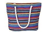 5 All Strandtasche Shopper Damen Aufdruck Muster Geometrie Groß XL mit Reißverschluss (D)