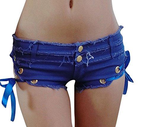 Femme Shorts En Denim Taille Basse Jeans Hot Shorts Pantalons Courte Mini Shorts Bleu
