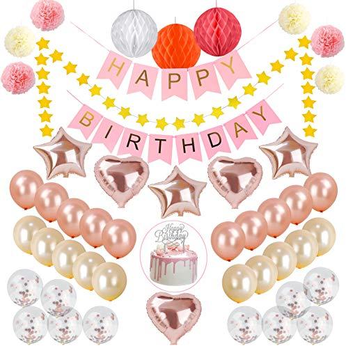 Best Memories Geburtstagsdeko Mädchen Rose Gold Banner Happy Birthday Tortendeko Silber Glitzern 50pcs deko Geburtstag (Roségold)