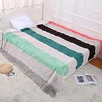"""Amabubblezing Cobijas de Felpa con Doble Capa de Felpa Cojín con suavidad Super Suave para la Sala de Estar de la Cama de sofá (Color : Gray Stripes, Size : 63""""x79"""") - Muebles de Dormitorio precios"""
