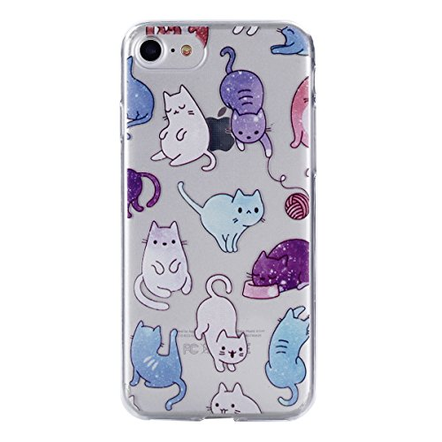 Cover per iphone 7 / iphone 8, Custodia per iphone 7 / iphone 8,Cozy Hut iphone 7 / iphone 8 Silicone Case Ultra-thin Shock-Absorption TPU Gel Silicone Protettivo Skin Custodia Protettiva Shell Case C Colore cat