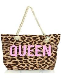 Snoogg Queen Leopard Print Women Anchor Messenger Handbag Shoulder Bag Lady Tote Beach Bags Blue