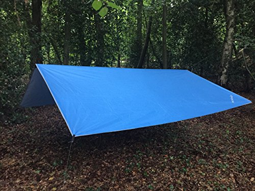 hammock/tent cover waterproof rain shelter lightweight 300cm x 300cm tarpaulin beach & sun shade ground sheet with carry bag & metal pegs & guy ropes