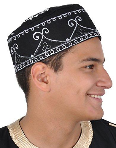 Egypt Bazar Traditionelle Arabische Kopfbedeckung - Araber - Karnevalskostüm- schwarz/weiß (KB0069)