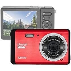 """GDC80X2 Appareil photo numérique compact avec zoom numérique 8x / 12 MP / Caméra Compact HD / Ecran TFT LCD 2,8"""" Caméra pour enfants / débutants / personnes âgées Cadeau de Noël (Rouge)"""