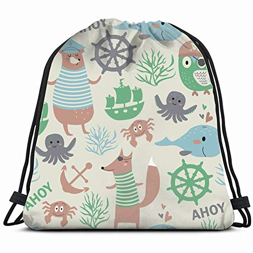 fjfjfdjk Cute Marine Pirates Sailor Animals Wildlife Drawstring Backpack Gym Sack Lightweight Bag Water Resistant Gym Backpack for Women&Men for Sports,Travelling,Hiking,Camping,Shopping Yoga -