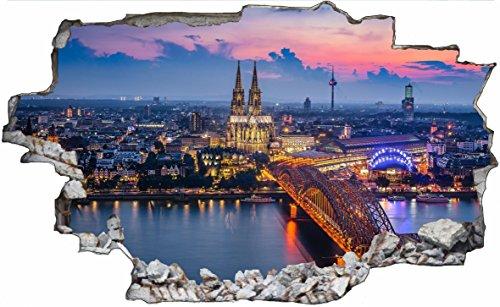 DesFoli Köln Stadt Deutschland 3D Look Wandtattoo 70 x 115 cm Wanddurchbruch Wandbild Sticker Aufkleber C039