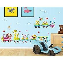 Rainbow Fox Treno con Cute Animals leone Elefante giraffa scimmia coniglio TigerWall adesivi, decalcomanie Casa dei bambini della scuola materna rimovibile Wall Stickers / parete / Wall Decoration - Giraffe Scimmia