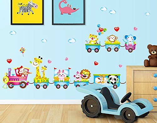 Rainbow Fox Treno con Cute Animals leone Elefante giraffa scimmia coniglio TigerWall...