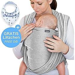 Écharpe de portage gris clair - porte-bébé de haute qualité pour nouveau-nés et bébés jusqu'à 15 kg - en coton doux - incl. sac de rangement et bavoir bébé OFFERTS - design adorable de Makimaja®