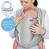 Babytragetuch Hellgrau - hochwertiges Baby-Tragetuch für Neugeborene und Babys bis 15 kg - inkl. GRATIS Baby-Lätzchen