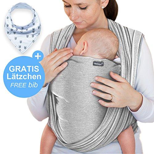 Écharpe de portage gris clair - porte-bébé de haute qualité pour nouveau-nés et bébés...