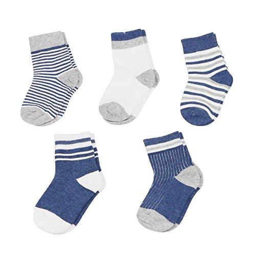 Caudblor Unisex Basic Streifen Baby Infant & Kleinkind Crew Bootie Socken, 5 Paar/6-12 Monate/Blau (Vor Bootie)