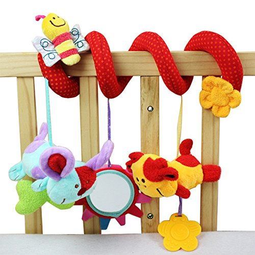 iDream Cute Multi-Function Activity Soft Plush Spiral Rattle Hanging Bell for Crib Bed Stroller for Baby Infant Newborn (Style 3)