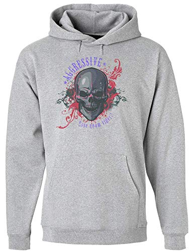 idcommerce Aggressive Skull Flames Artwork Kapuzenpulli für Herren Extra Large Flaming Skull Sweatshirt