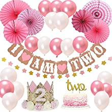 "2st BIRTHDAY Girl DECORATIONS/Pink Theme Kit Set-2st Birthday Party Hat Princess Tiara Crown,Cake Topper-""Two"", ""I Am Two""and""Stars""Banner,Fiesta Pink Hanging Paper Fan Flower,Pink and white balloons"