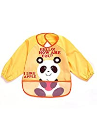 Oral-Q Unisexe Enfant Arts Craft Peinture Tablier Bavoir imperméable pour bébé avec manches et poche, 6-36 mois, un panda, jaune Lot de 1