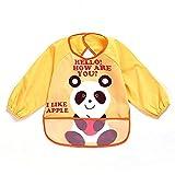 SOHV Unisex niños Childs artes manualidades pintura delantal bebé babero impermeable con mangas y bolsillo, 6-36meses, un amarillo oso panda, juego de 1