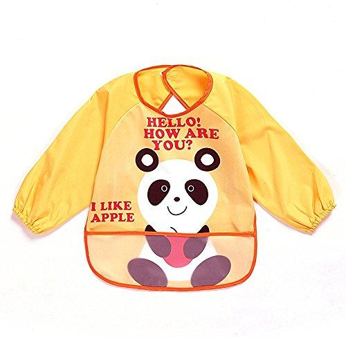 sohv Unisex Bambini Arts Craft pittura grembiule bambino impermeabile Bavaglino con maniche e tasca, 6-36mesi, un panda, colore giallo, Set di 1
