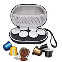 Masiken Hard Carrying Case for Nespresso & Compatible Capsules Portable Espresso Maker Coffee Pod Holder Carry Protective Bag (Holds 6 Pods)