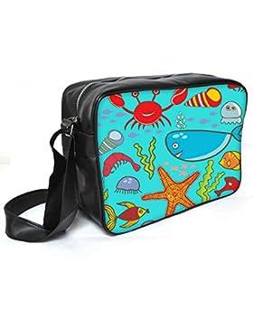 Snoogg Colorful Fische Leder Unisex Messenger Bag für College Schule täglichen Gebrauch Tasche Material PU