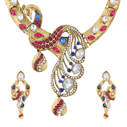 Bridal sets imitation jewellery fashion necklace set necklace for girls sets PINK BLUE BHNE0002RB  available at amazon for Rs.399